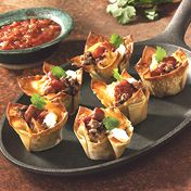 Mini Tacos  -  Since I don't have a mini muffin tin i'll most likely use SCOOPS chips on a cookie sheet or phyllo dough cups that are already formed. YUM!