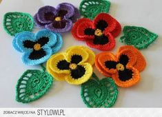 edgings, motifs, stitches - couldn't pin the individual pictures / links but there's a really nice daisy edging Crochet Leaves, Knitted Flowers, Crochet Flower Patterns, Flower Applique, Knit Or Crochet, Cute Crochet, Crochet Motif, Irish Crochet, Crochet Crafts