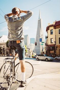 Iván Urra explores San Francisco by bike in his cutoff Levi's. How do you #LiveInLevis? There is soo much more to take in while riding since it's easier to pull over and take in the area where if you are driving you miss soo much!!
