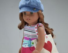 Handcrafted 18 inch doll clothes fits AG Dolls OOAK, Special set 4 pieces - Tank top, Shorts, Hat, & bag )