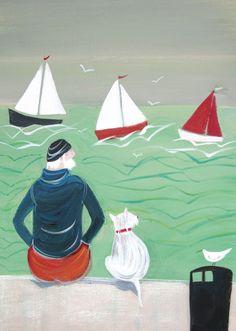 'Sitting On The Dock Of The Bay' By Artist Jennifer Verny-Franks.  Blank Art cards By Green Pebble. www.greenpebble.co.uk
