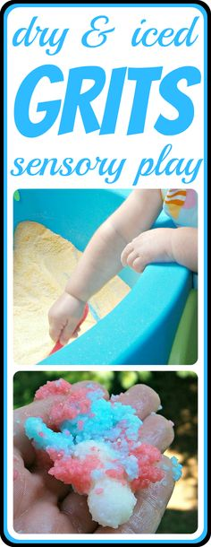 Pretend Play and Sensory Play with GRITS! Hours of fun for the kids using dry grits and even some frozen fun with grits!