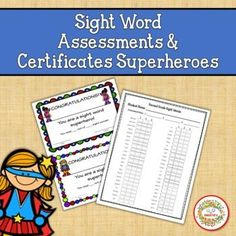 Sight Word Assessments and Certificates Superheroes by Sweetie's First Grade Sight Words, Third Grade, Kindergarten Blogs, Teacher Organization, Teacher Binder, School Reviews, Learn To Spell, Learning Resources, Teaching Ideas