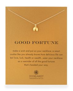 "Gold-Dipped ""Good Fortune"" Necklace, Size: 18"", GOLD - Dogeared"