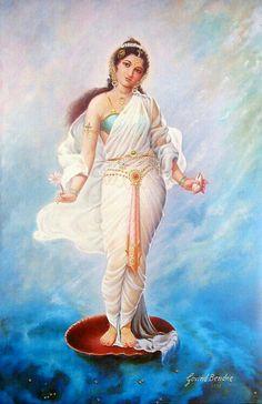 This article highlights the presence of various minor deities in Hindu religion and mythology. This part deals with tales related to Indra, Gayatri, Ganga, Kamadeva, Kubera and Varuna. Hindu Kunst, Hindu Art, Indian Women Painting, Indian Art Paintings, Saraswati Goddess, Shiva Shakti, Indian Goddess, Goddess Art, Sacred Feminine