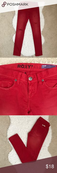 """Roxy Red Skinny Jeans Roxy Red Skinny Jeans. From crotch point to waistline is 8"""". Inseam is 30.5"""". Red color. Size 0. Roxy Jeans Skinny"""
