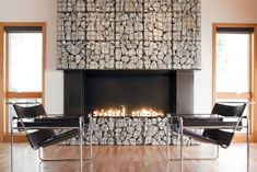 Your rocks in cages! member you wanted a fence like this for napa...  Gabion Fireplace | Modern Union