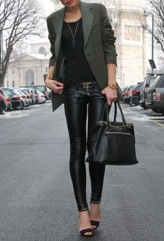 cute outfit...not brave enough to wear leather pants, but black skinny jeans would work too.