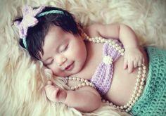 Such a cute little mermaid newborn photo Newborn Baby Photos, Newborn Pictures, Newborn Session, Baby Bikini, Bikini Top, My Baby Girl, Baby Love, Cute Babies, Baby Kids