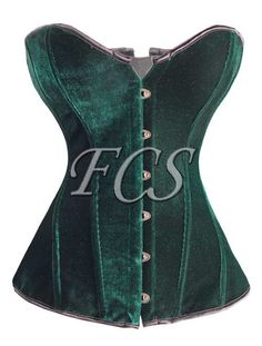 a012 Green Velvet Overbust Corset