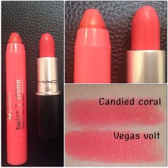 "DUPE MAC ""vegas volt"" & Jordana twist & shine balm stain ""04 candied coral"""