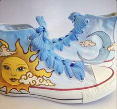 Sun Moon Shoes Painted, Custom Converse For Women #sunmoonshoes #sun #moon #customconverse #paintedshoes