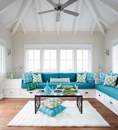 New living room sectional sofa ideas wall colors Ideas House Of Turquoise, Turquoise Sofa, Living Room Turquoise, Turquoise Cottage, Turquoise Accents, Living Room Built Ins, Living Room Sofa, Living Room Interior, Living Room Decor