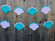 Sea Shell Garland, Sea Shell Banner, Mermaid Party Garland, Mermaid Banner by CraftyCue on Etsy