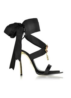 DSquared2 Treasures Black Satin Ankle Wrap High Heel Sandals w/Metal Logo