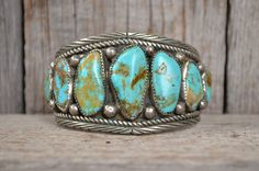 Old Pawn HUGE Navajo Turquoise and Sterling Silver Cuff