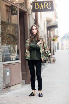 military jacket street style | @KatyaGuseinova                                                                                                                                                     More