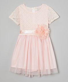 Richie House Peach Flower Lace Dress - Toddler & Girls | zulily