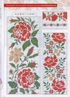 Cute Cross Stitch, Cross Stitch Borders, Cross Stitch Rose, Cross Stitch Flowers, Cross Stitch Charts, Cross Stitch Designs, Cross Stitching, Cross Stitch Patterns, Beaded Embroidery