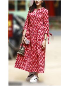 Buy Red Cotton Printed Anarakli Kurti online in India at best price.Shop online Red ikat pleated dress by Gulaal Creations A dress which is both comfortable and classy. Anarkali, Ikkat Dresses, Kalamkari Dresses, Casual Frocks, Cotton Gowns, Kurta Cotton, Kurta Neck Design, Red Kurti Design, Churidar Designs