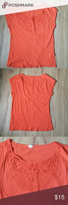 """J.Crew Cutout Top Super soft tee with intricate cutout design. Minor signs of wear, shoulder to hem 24"""", armpit to armpit 19"""". J. Crew Tops Tees - Short Sleeve"""