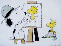 Snoopy doing a portrait of Woodstock