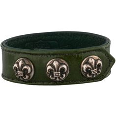 Pre-owned Chrome Hearts Patent Leather Bracelet ($395) ❤ liked on Polyvore featuring jewelry, bracelets, green, snap jewelry, chrome hearts jewelry, fleur de lis jewelry, green jewelry and preowned jewelry