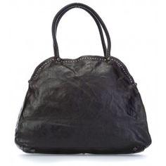 Pino Nero Handtasche fein genarbtes Rindsleder schwarz