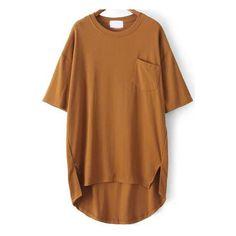 SheIn(sheinside) Yellow Pocket Split Dip Hem T-Shirt ($16) ❤ liked on Polyvore featuring tops, t-shirts, yellow, yellow top, pocket tops, short sleeve pocket t shirts, short sleeve pocket tee and brown t shirt