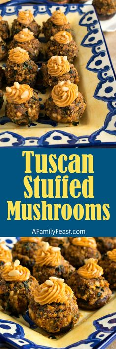 These delicious Tuscan Stuffed Mushrooms are full of fantastic flavor. Sun dried tomato pesto, pine nuts, cheese and breadcrumbs. A perfect holiday appetizer! Potluck Recipes, Entree Recipes, Snack Recipes, Cooking Recipes, Drink Recipes, Veggie Recipes, Cooking Tips, Dinner Recipes, Holiday Appetizers