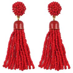 Pre-owned Red Beaded Tassel Earrings ($30) ❤ liked on Polyvore featuring jewelry, earrings, accessories, red jewellery, beaded earrings, preowned jewelry, red jewelry and red bead jewelry