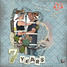 Layout: Anniversary by Shazzabess Template: Summer Group (Facebook 7/14) Reason CTM Loves: I love the unusual use of the template - how she split the photo into the many photo spots to create a wonderful, unique look! The colors in the kit and photo match perfectly, and what great title work. 2 alphas and a word bit!