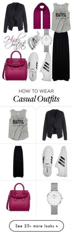 """#Casual #chic"" by mennah-ibrahim on Polyvore featuring M Missoni, Monsoon, Daniel Wellington, Boucheron, Alexander McQueen and adidas"