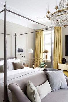 Master bedroom: Homemade Life... add some classic yellow pillows?