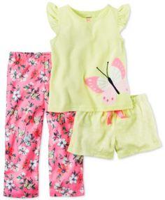 Carter's 3-Pc. Butterfly Pajama Set, Little Girls (2T-6X)