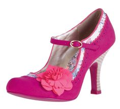 RUBY SHOO POPPY PINK FLOWER MARY JANE VINTAGE STYLE HIGH HEEL SHOES SIZES 3-8