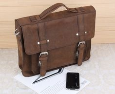 Handmade Crazy horse leather  satchel travel bag  computer bag  Pure cowhide messeners bag   large retro bag   travel bag man bag