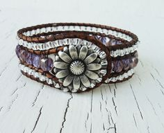Leather Cuff Bracelet Purple and Silver Beaded by thehummingbead, $60.00
