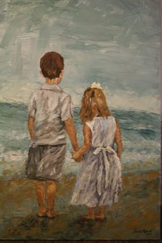 """Brother and Sister"" Oil on Canvas - Janine Medlin Fine Art; reminds me of my kids Sisters Drawing, Sisters Art, Painting People, Love Painting, Sad Girl Art, Brother And Sister Love, Pictures To Draw, Profile Pictures, Painting Process"
