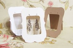 20 Lg ZOE  2.5 x 3.5 inch Tent Cards, EARRING CARDS, Jewelry cards, Earring Display, Earring Card, Earring Holder, stud card