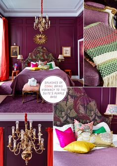 Purple Colour Ideas: Mikado Suite, Grand Hotel - Bright Bazaar by Will Taylor Bold Living Room, Living Rooms, Middle Eastern Decor, Interior Design, Luxury Interior, Modern Interior, Design Design, Purple Interior, Red Rooms