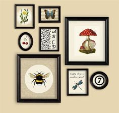 Happy Days Summer theme Set Of Prints Wall Gallery Bee Toadstool Butterfly Dragonfly Cherry Dandelion
