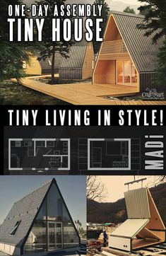 A must-see collection of amazingly beautiful prefabricated homes designed by tiny home builders with style. You don't have to plan on living in a container house anymore! Did you know that you can get EU-built tiny houses and cabin kits shipped to the US? Diy Hanging Shelves, Diy Wall Shelves, Cabin Plans, Shed Plans, Garage Door Makeover, Cabin Kits, Prefabricated Houses, Prefab Tiny Houses, Diy Coffee Table