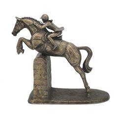 Female Show Jumper Cold Cast Bronze Horse Sculpture by Harriet Glen