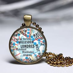 Pendants – Necklace London customized vintage map pendant – a unique product by…