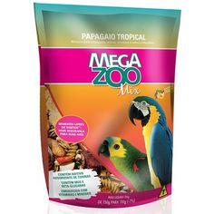 Ração MegaZoo Pássaros Papagaios Tropicais - Meuamigopet.com.br #asas #asa #animais #aves #passaros #meuamigopet
