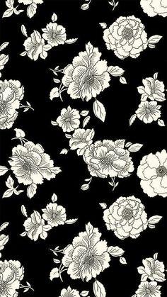 Floral Black and White iPhone background White Flower Wallpaper, Black And White Wallpaper Iphone, White Background Wallpaper, Background Patterns, Wallpaper Tumblr Lockscreen, Trendy Wallpaper, Iphone Wallpapers, Iphone Backgrounds, Black Wallpapers Tumblr