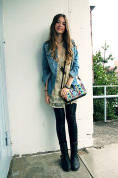 like the leggings + boots + dress + jacket
