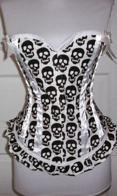 Black and White Skulls Boned Corset Top Shirt  Very by gigidevlin, $70.00