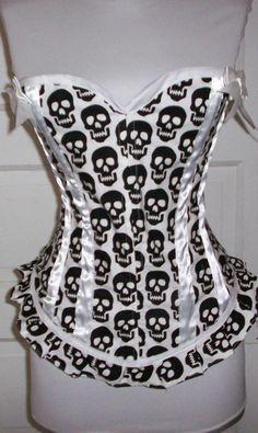 bone corset, fashion shoes, fashion ideas, corsets, girl fashion, skull bone, skulls clothing, corset top, black and white skulls
